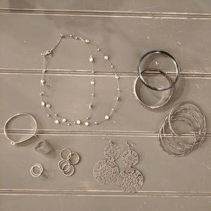 Jewelry bundle! Silver necklace bracelets rings